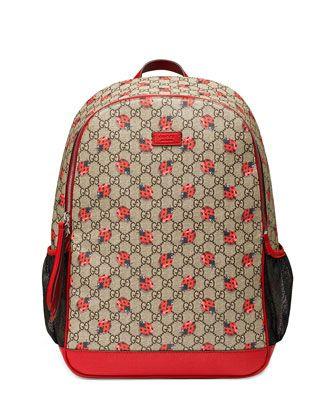 1cbe2eaf656c Classic GG Supreme Ladybug Backpack Diaper Bag, Beige by Gucci at Neiman  Marcus.