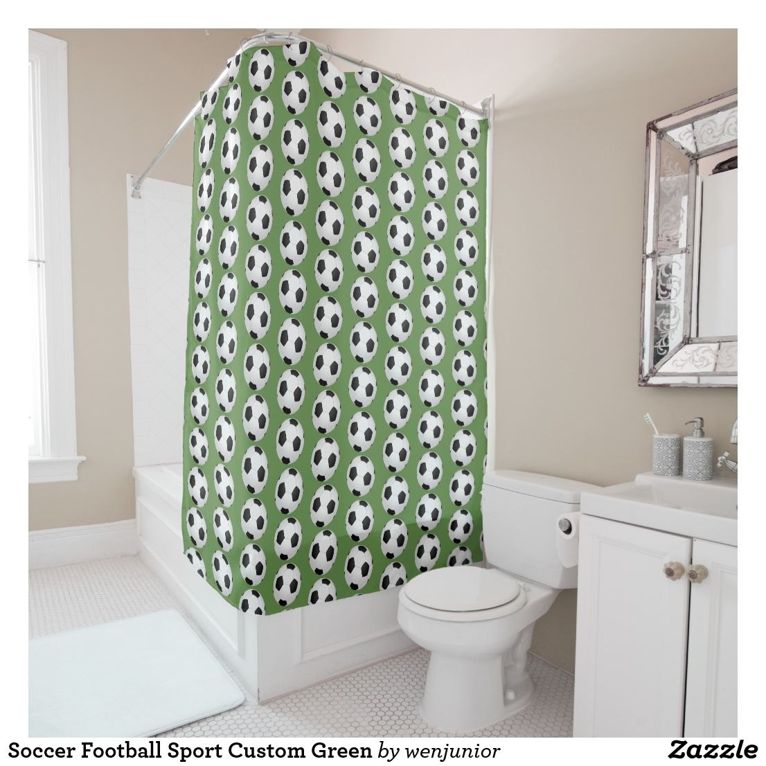 Soccer Football Sport Custom Green Shower Curtain Zazzle Com