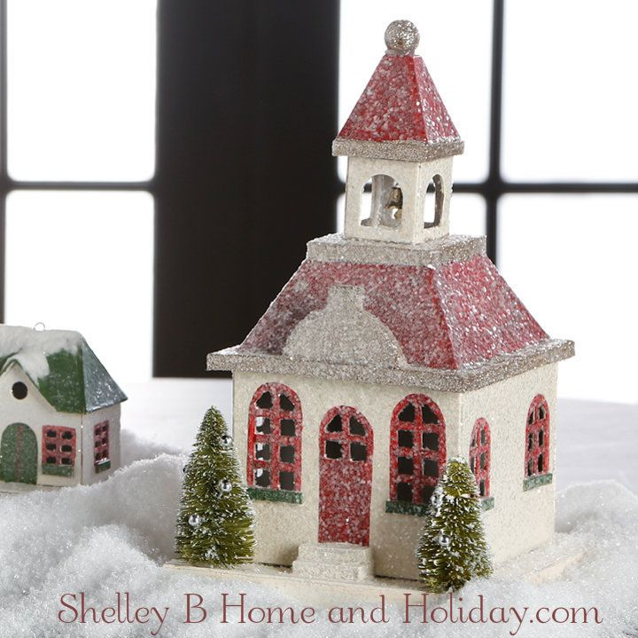 Old Style Christmas Decorations: Winter Church Old Fashion Paper Putz Style
