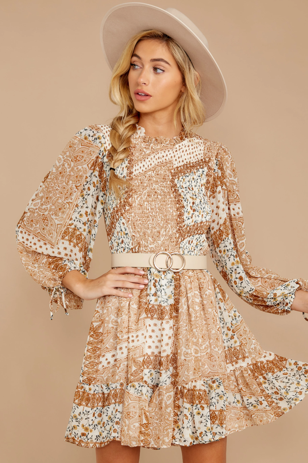Chic Beige Dress Paisley Floral Print Smock Dress Dress 60 00 Red Dress Wedding Guest Outfit Mini Dress Fashion Guest Outfit [ 1500 x 1000 Pixel ]