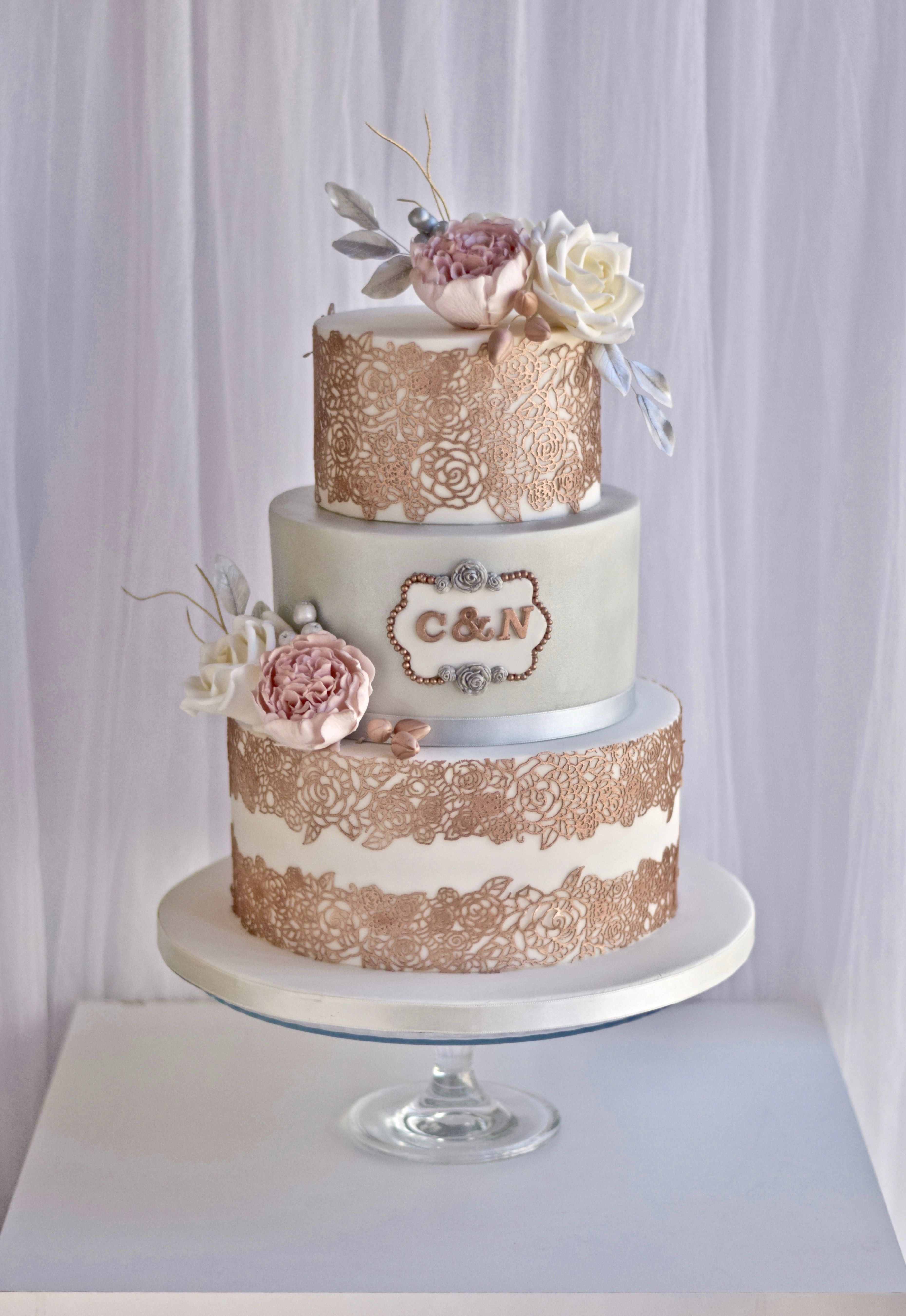 Elegant 3 Tier Rose Gold Wedding Cake With Sugar Peonies And Roses