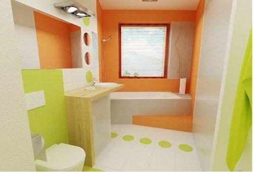 baño color naranja y blanco Ideas para el hogar Pinterest