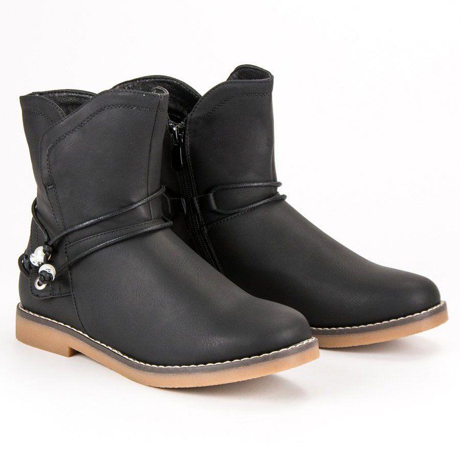 Wygodne Jesienne Botki Czarne Biker Boot Shoes Boots