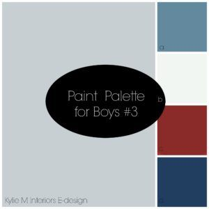 Best paint palette for a boys bedroom using gray, blue navy, red and white. Kylie M Interiors Edesign