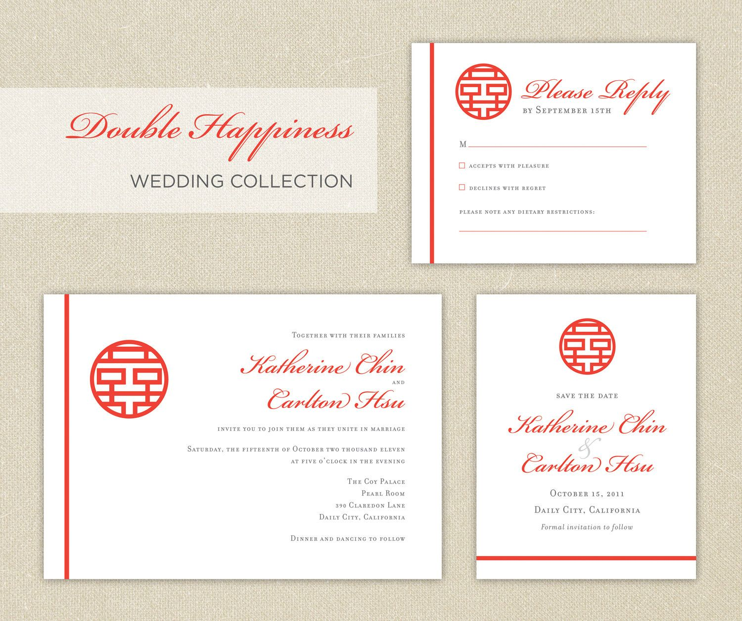 Wedding Invitations Red Double Happiness Chinese Wedding