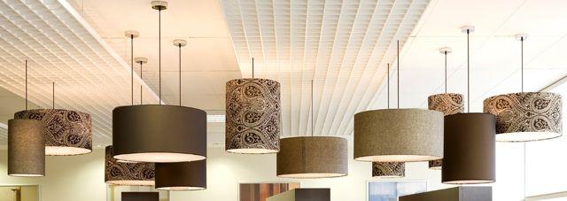 Fabric Drum Pendants  Project Luxaflex showroom  Materials