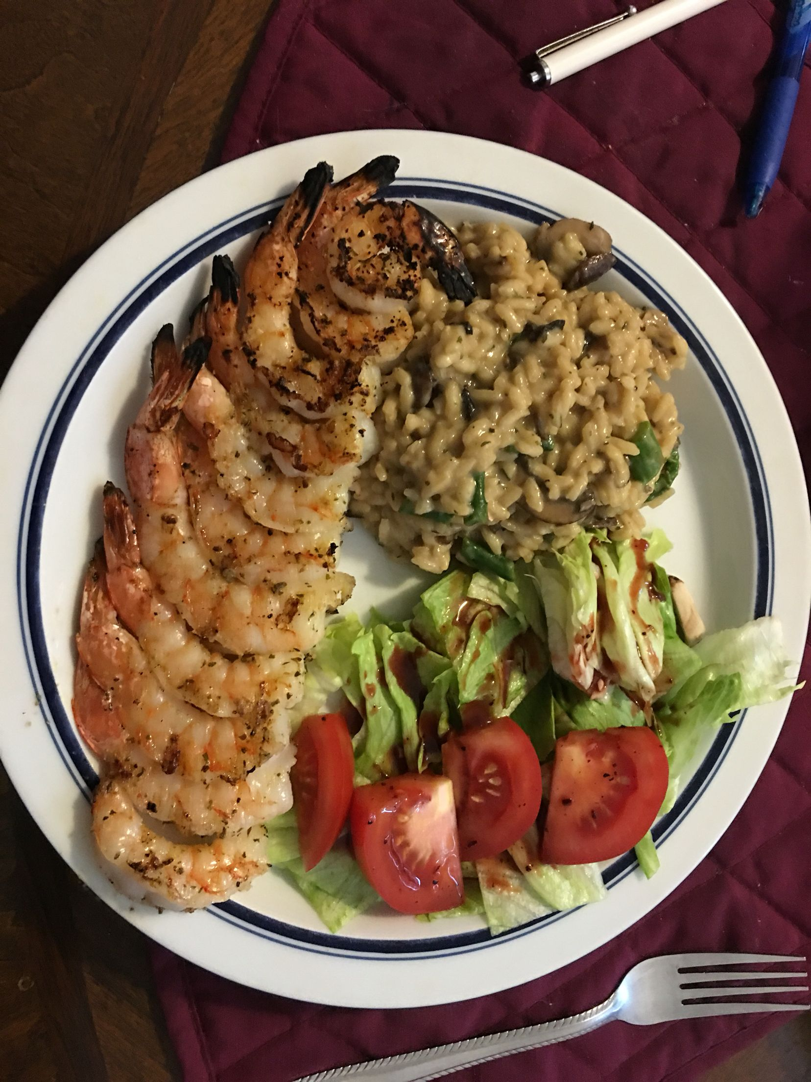 Grilled garlic shrimp, asparagus and mushroom risotto and a small side salad with strawberry vinaigrette.