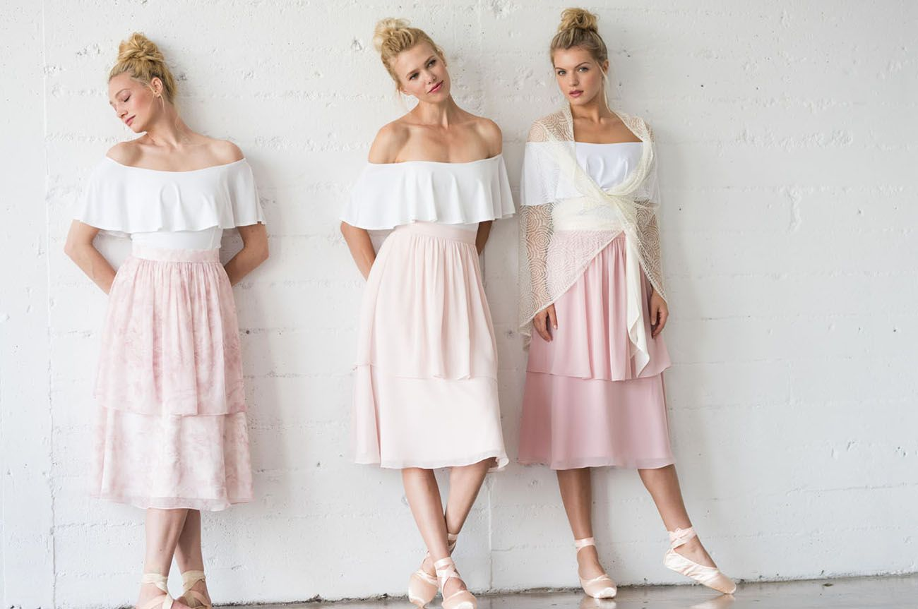 Pretty in Pink Blush Ballet-Inspired Bridesmaids Dresses by Joanna ...