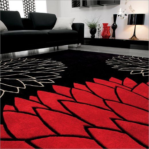 This Room Is Colored In Black And White With Red As An Accent