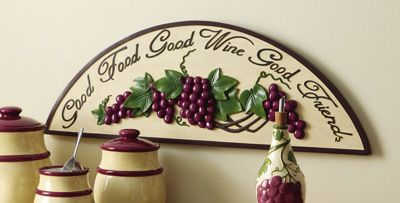Grape Wall Decorations Good Food Wine Friends Hanging Art Décor
