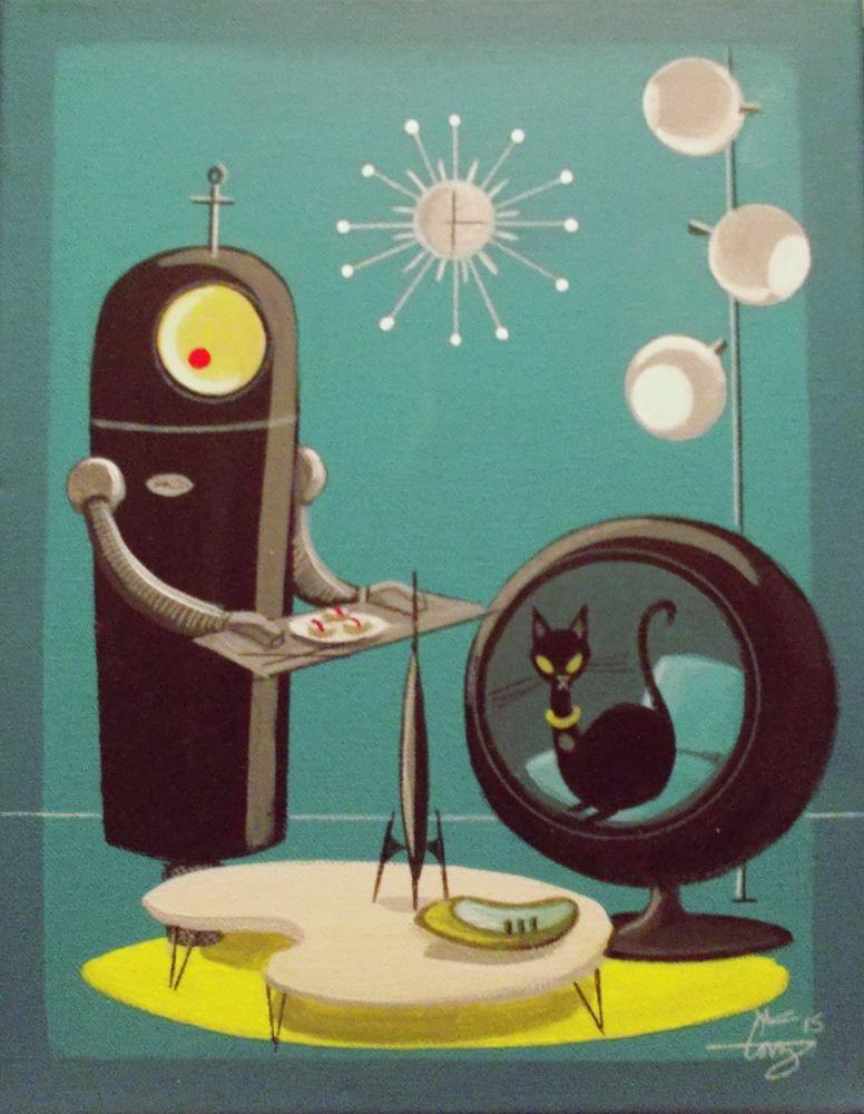 EL GATO GOMEZ PRINT RETRO MID CENTURY MODERN OUTER SPACE ROBOT CAT SCI-FI ROCKET