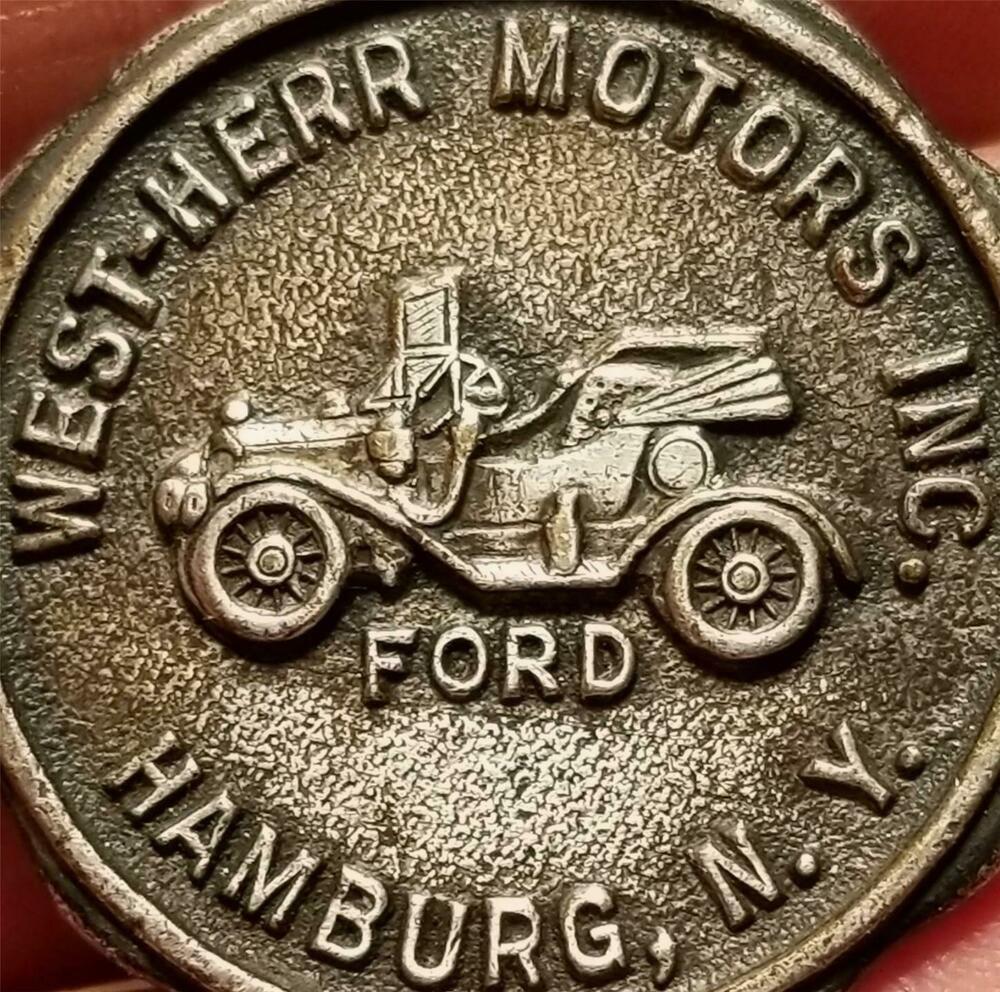 Vtg. Advertising Keychain Fob Medal OLD FORD CAR WEST HERR