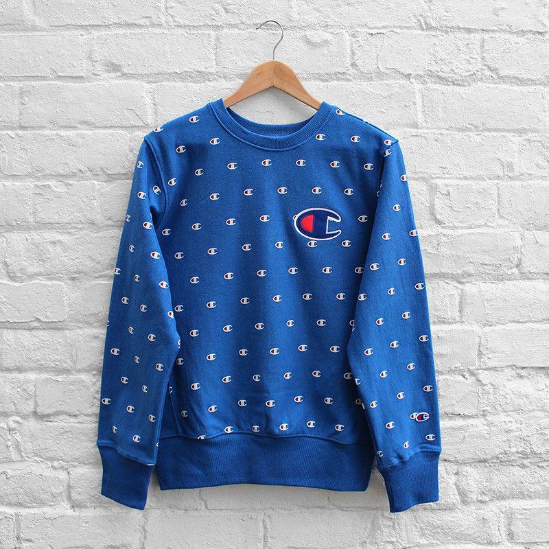 Champion Multi Print Sweater Royal Blue