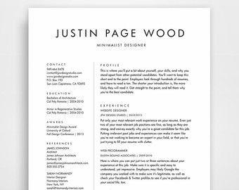 Resume Design CV Template Minimalist Resume By JPWDesignStudio  Clean Resume Templates