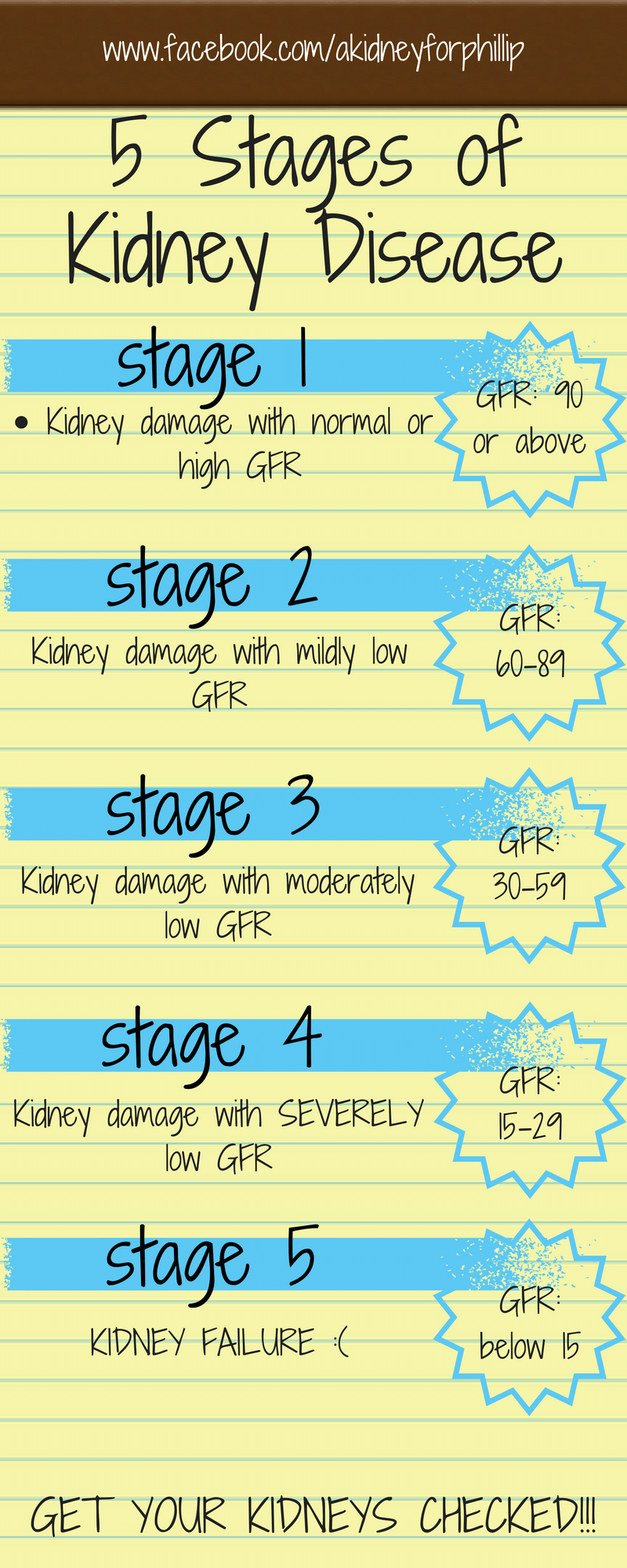 5 Stages of Kidney Disease GFR
