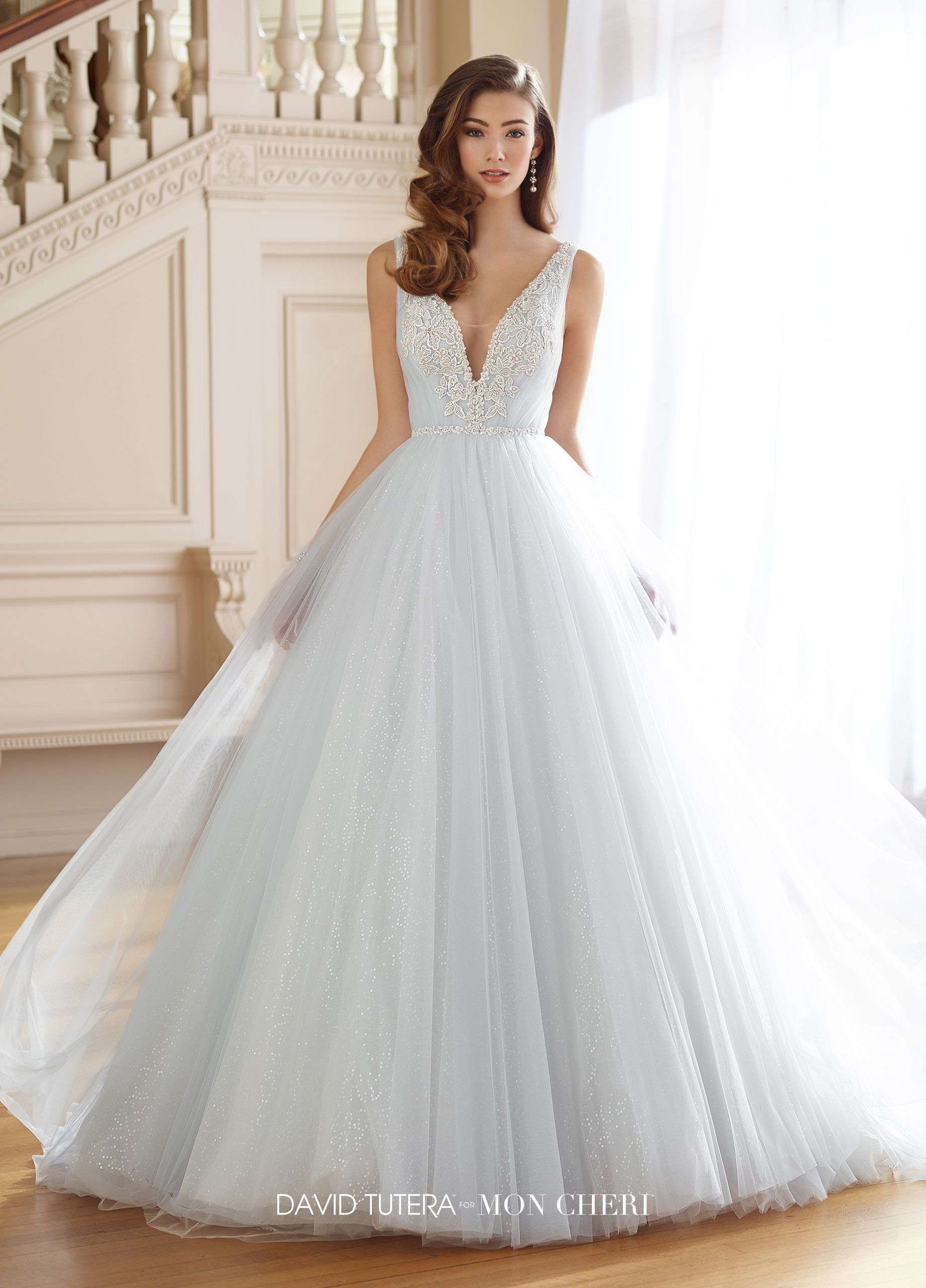 mon cheri bridals 217217 Rena - Sleeveless tulle and sequin tulle ball gown  with hand-beaded shoulder straps 46c38e359964
