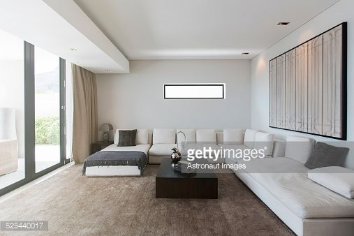 Stock Photo View Of Modern Living Room With Sofas Coffee Table And