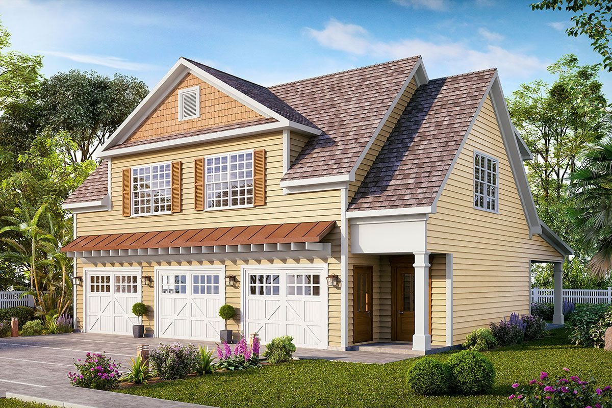 Plan 360047dk 3 Bay Carriage House Plan With Attractive Gable Carriage House Plans Carriage House Garage Architectural Design House Plans