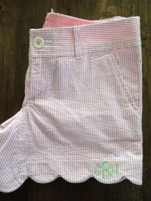 scalloped, searsucker, monogrammed shorts