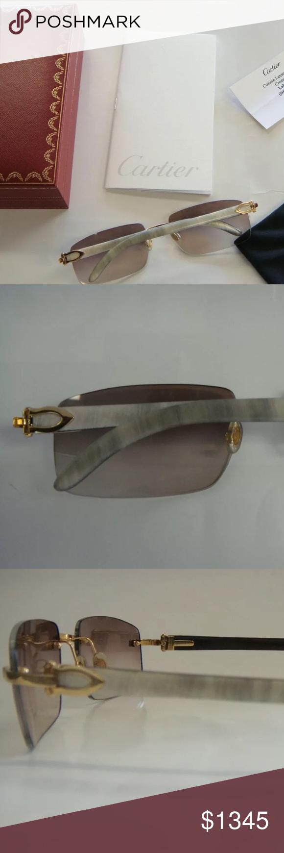 04e7e25f93a Cartier Rare sunglasses White Buffalo C Decor FOR SALE IS A 100% AUTHENTIC CARTIER  WHITE