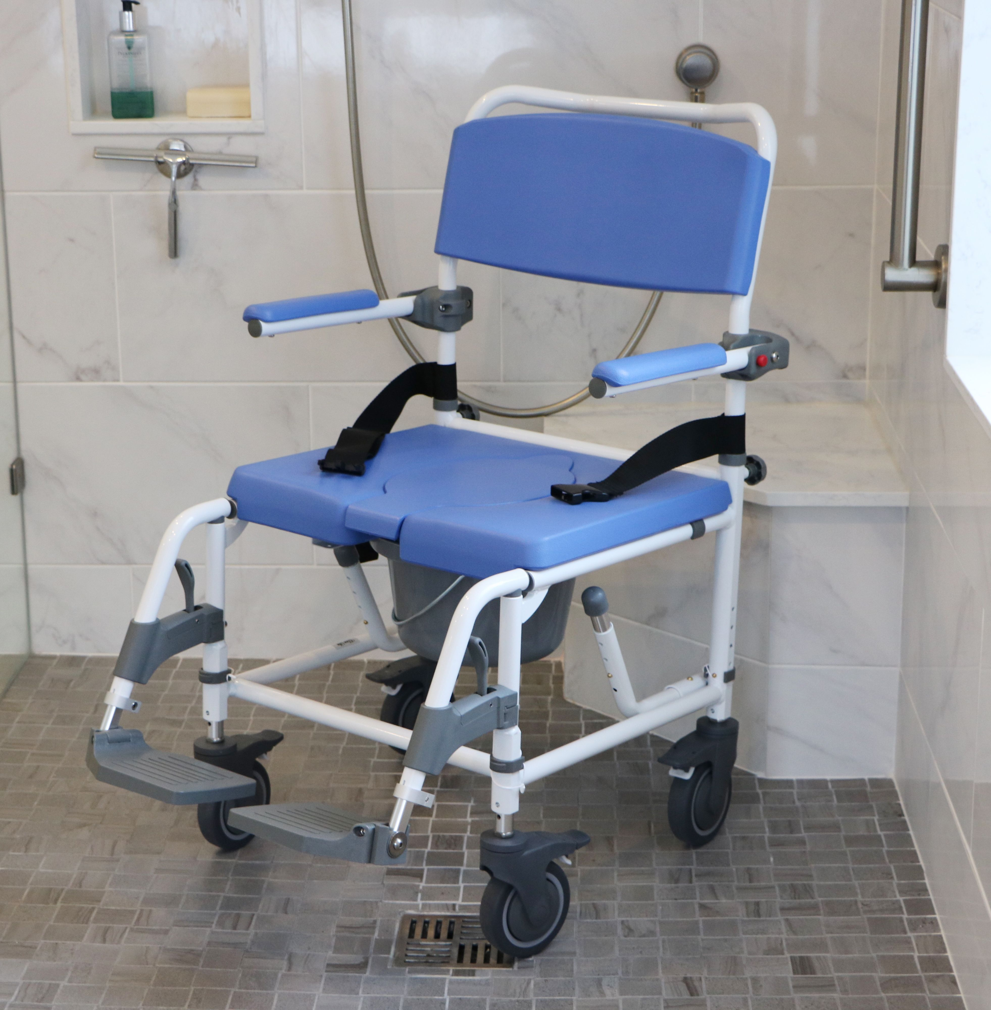 Compliment Your Barrier Free Accessible Shower With A Wheelchair That Is Made Especially For The Sh Shower Chair Shower Chairs For Elderly Shower Commode Chair