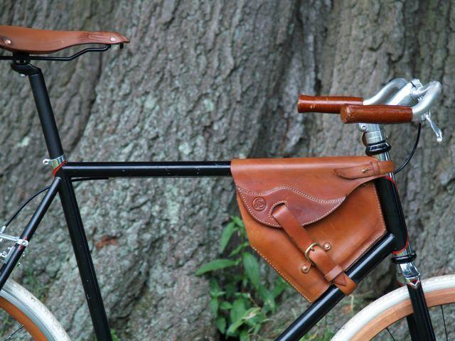 Leather Bag Bike Saddle Handlebar Frame Vintage Craft BLACK RED