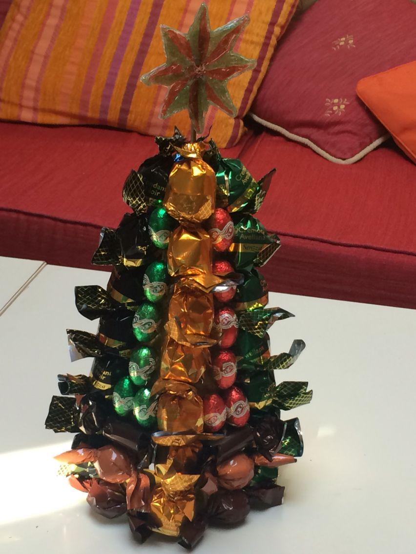 Arbol de navidad de bombones con estrella de silicona de colorea