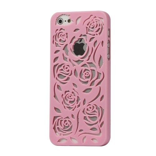 Carving Rose Hollow Flower Hard Case Cover for iPhone 5 - Pink - - Guuds