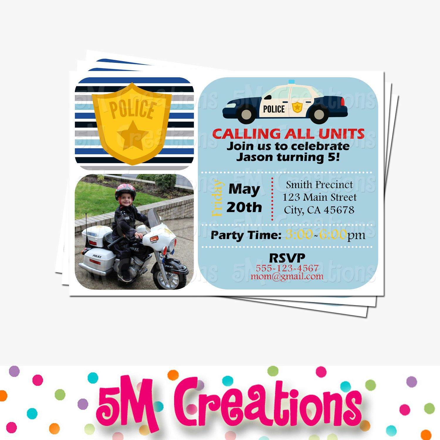 Police Party Invitations Cop Party Invite Police Birthday