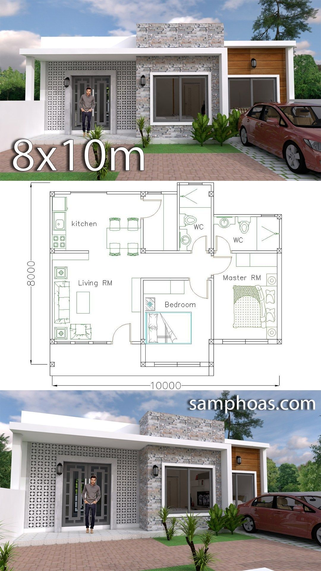 Simple Home Design Plan 10x8m With 2 Bedrooms Projetos De Casas