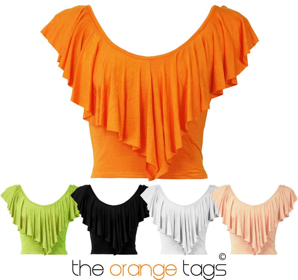 T shirt white ebay - Details About Ladies V Neck Sleeveless Frill Crop Top T Shirt Tops Womens Top