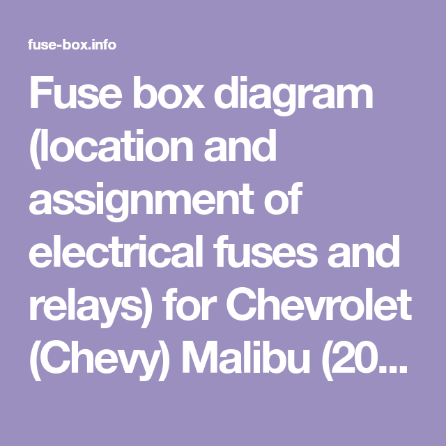 Fuse Box Diagram Location And Assignment Of Electrical Fuses And Relays For Chevrolet Chevy Malibu 2008 2009 2 In 2020 Fuse Box Chevrolet Malibu Electrical Fuse