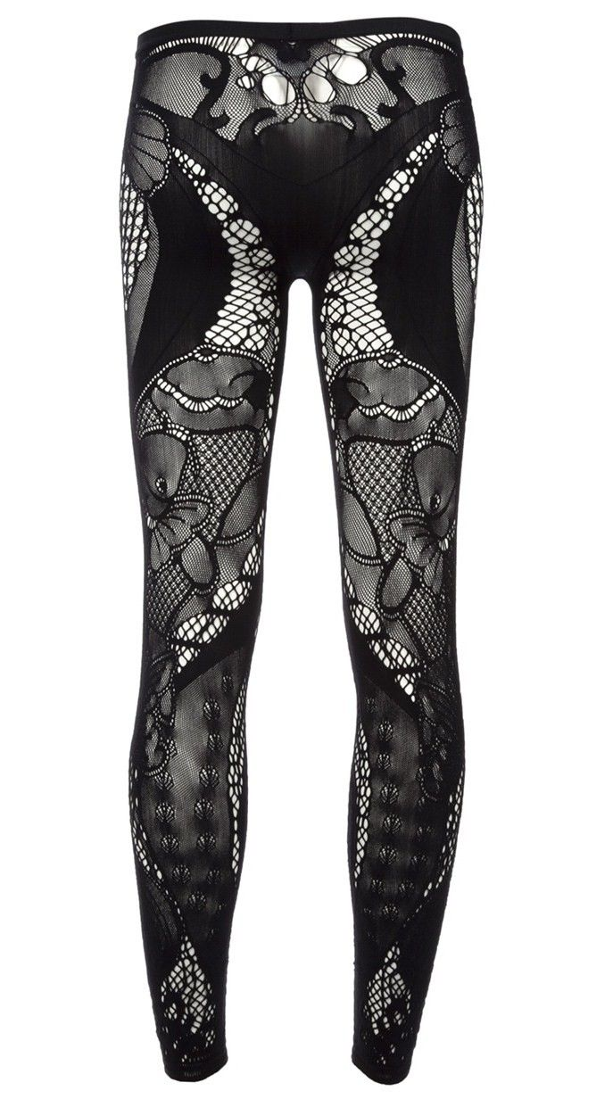 Alexander McQueen leggings. Black patch at crotch looks like pubic hair from a distance, yuck! No better from back! Proof that Alexander McQueen is not the fashion genius that many have been hypnotized into believing he is.
