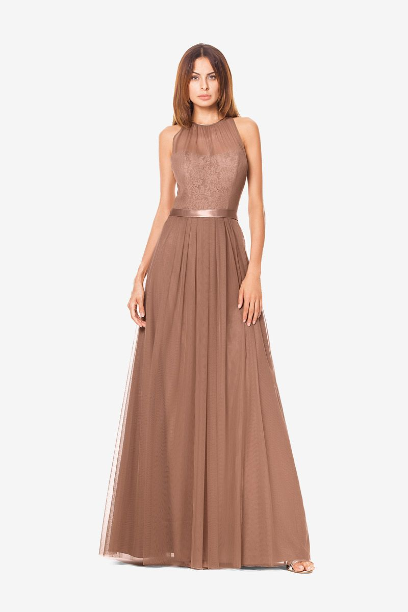 Rachel Bridesmaid Gown In Latte By David Tutera For Gather Gown Brown Bridesmaid Dresses Bridesmaid Gown Bridesmaid