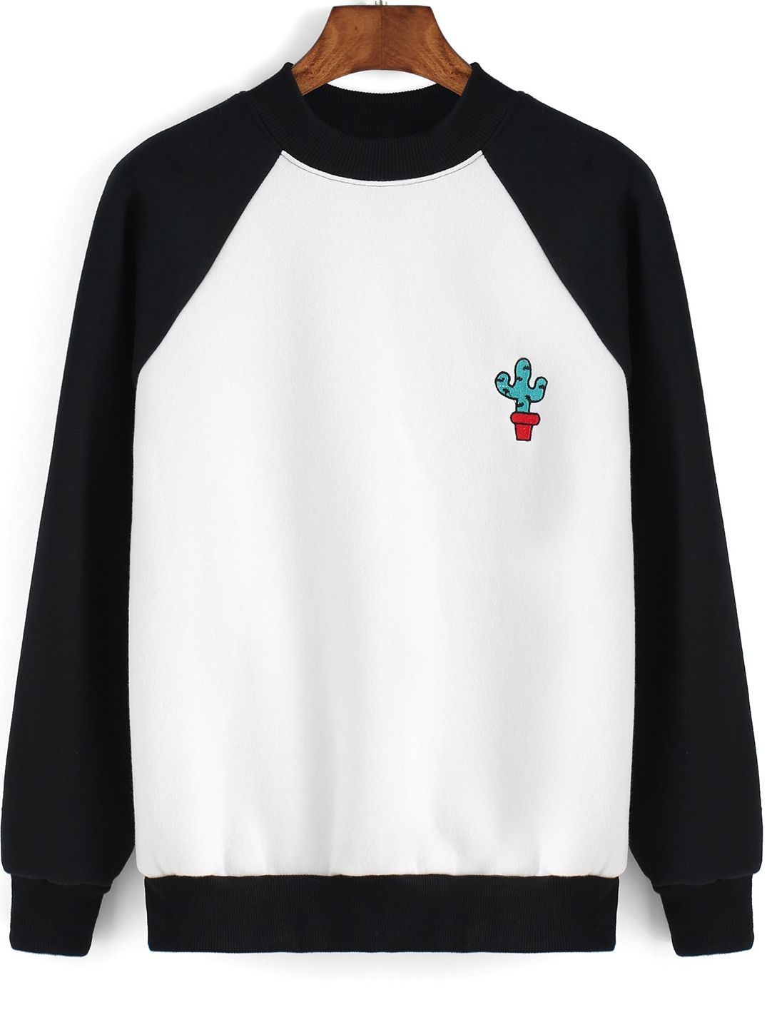 Colour-block Cactus Print SweatshirtFor Women-romwe