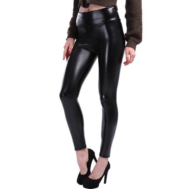 50574dc6772d4c Plus Size Leggings Women High Waist Stretch Slim Black Legging PU Leat –  Fashion Terras
