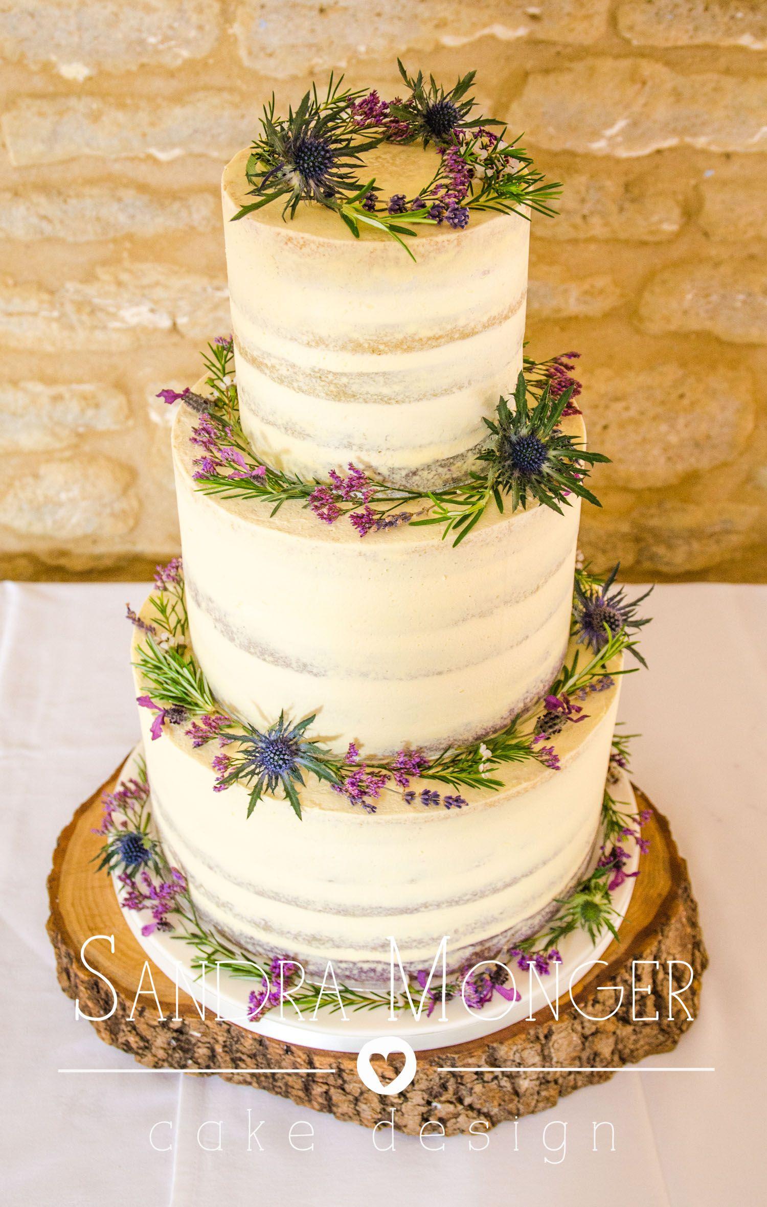 A beautiful Vegan rose water wedding cake with fresh flowers ...