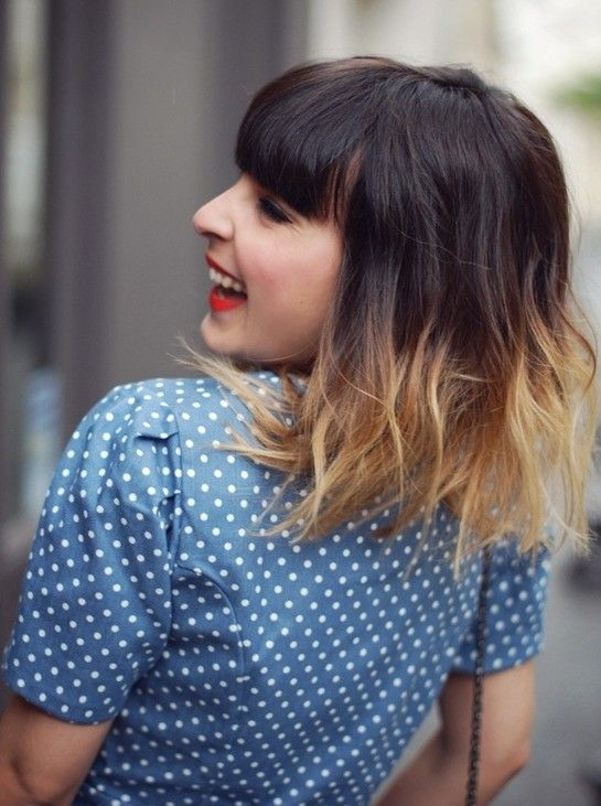 ombre hairstyles medium haircut with blunt bangs medium