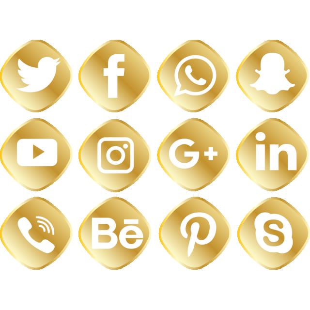 Golden Social Media Icon Set, Social Media Icons, Social