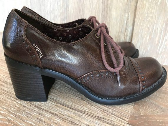 e69b6dd4669c7 Vintage Chocolate Brown Chunky Heel Leather Oxfords | Products ...