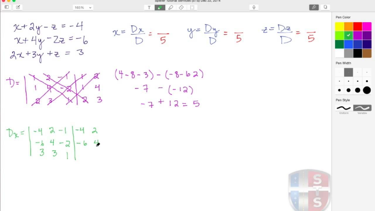 In This Tutorial Learn How To Solve A System Of 3 Variables Using Cramer S Rule We Also Use An Alternate Technique Of Cramer S Rule Matriz Educar