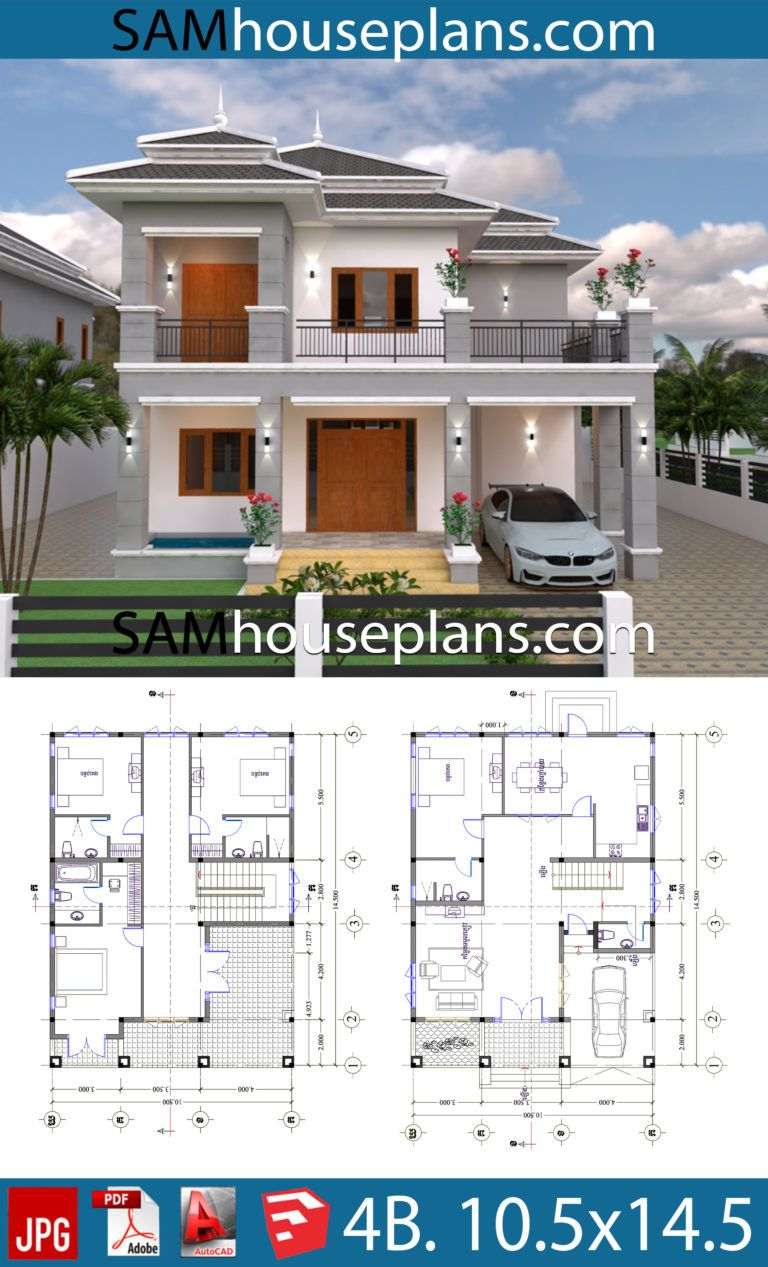 House Plans 10 5x14 5 With 4 Bedrooms House Plans Free Downloads In 2020 House Plans My House Plans Architectural Design House Plans