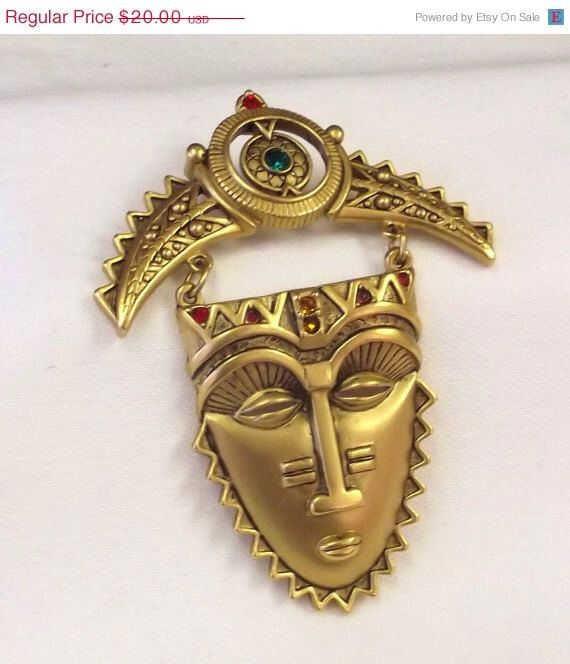 SUMMER SALE, Costume Jewelry, Dangle Brooch, Tribal Mask Pin, Rhinestone Accent, Vintage, Unique, Woman's Accessory by SophiesAgora on Etsy https://www.etsy.com/listing/231738317/summer-sale-costume-jewelry-dangle