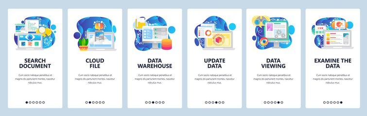 Mobile app onboarding screens. Data science technology