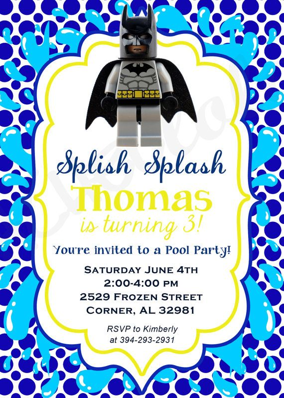 Lego Movie Pool Party Birthday Invitation Swim Party By