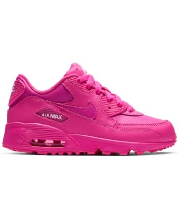 Nike Little Girls' Air Max 90 Leather Running Sneakers from