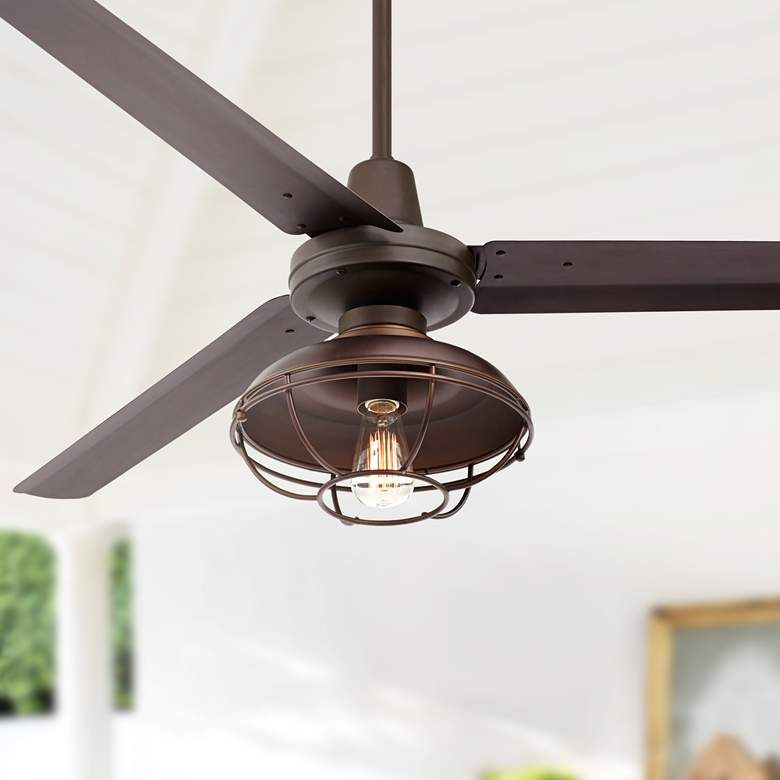 60 Turbina Dc Led Bronze Damp Ceiling Fan 64v28 Lamps Plus In 2020 Ceiling Fan With Light Rustic Ceiling Fan Ceiling Fan