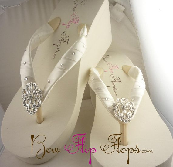 7483373ae Bridal Wedge Flip Flops Ivory Lace Rhinestone Bling Satin White Jewel Bride  swarovski Wedding Ribbon Bow