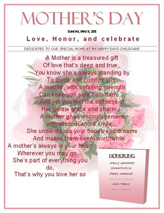 Mothers Day Pictures And Poems mothersdaypoem Sarah
