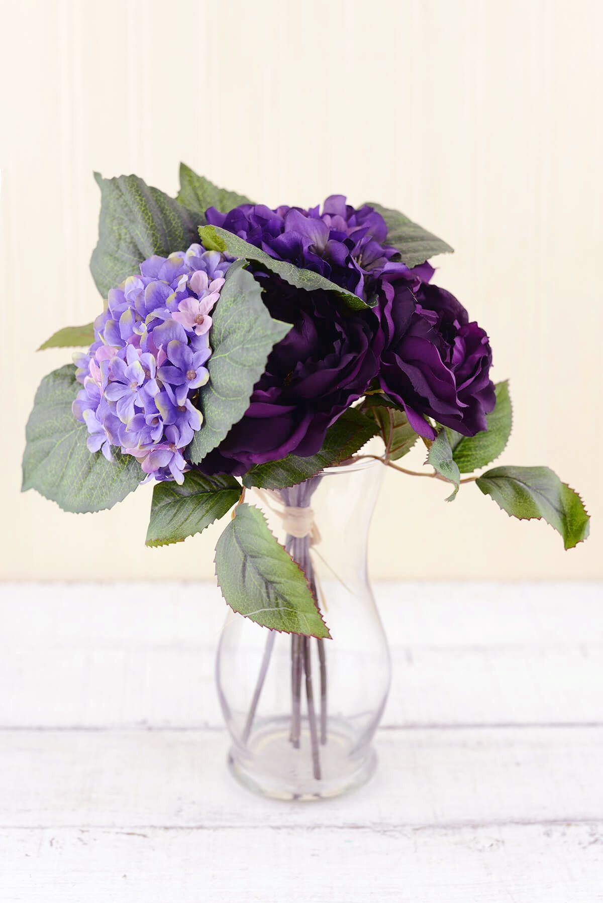 Purple Silk Hydrangea Rose Flower Bouquet 12in Hydrangea Purple